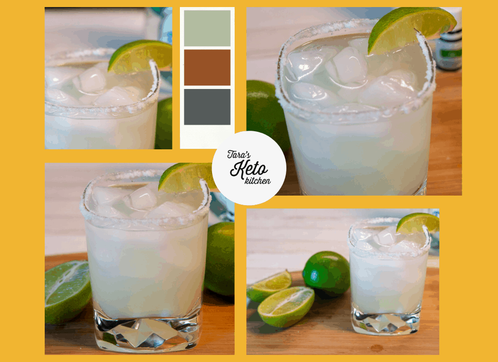four different views of Low Carb Margarita drink
