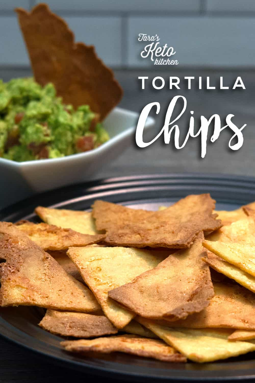 Close up of keto tortilla chips on black plate